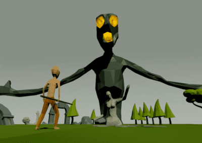Modeling and animation of character and central statue, for game, in Blender (other models of the scene created by Renata Silvério). Low poly models. Rendered in Unity.