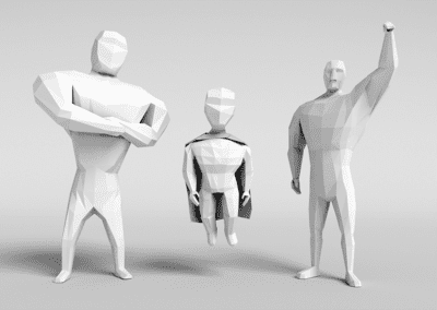 Study of low poly modeling in Blender, stylized heroes. Low poly models.