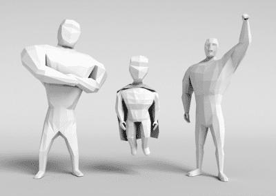 Estudo de modelagem low poly no Blender, heróis estilizados. Modelos em low poly.