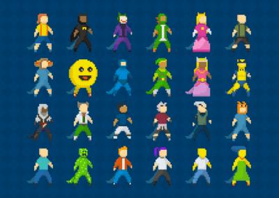 """Variação de personagem e """"cosplays"""" em Pixel Art (Projeto acadêmico. Todos os direitos reservados às respectivas marcas detentoras.)"""