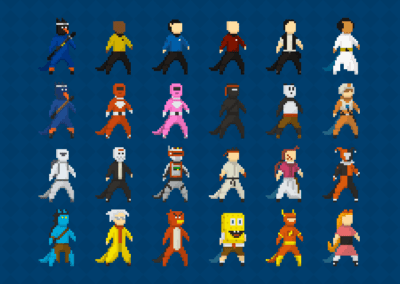 "Character variation and ""cosplays"" in Pixel Art (Academic Project, All rights reserved to respective brands and characters.)"