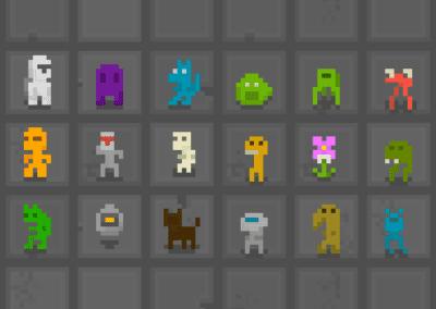 Variação e animação de personagens (principal e inimigos) em Pixel Art