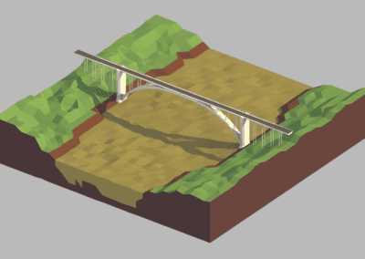 Study of low poly modeling in Blender, International Friendship Bridge (Brazil-Paraguay) stylized.
