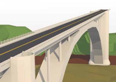 Estudo de modelagem de detalhes reais em low poly no Blender, Ponte Internacional da Amizade (Brasil-Paraguai) estilizada.
