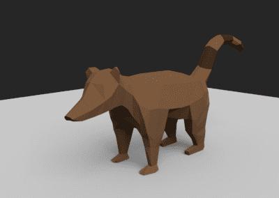 Estudo de modelagem low poly no Blender, quati estilizado. Modelo em low poly.