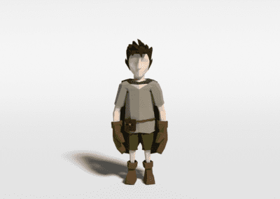 Modeling and character animation in Blender for game. Model in low poly.