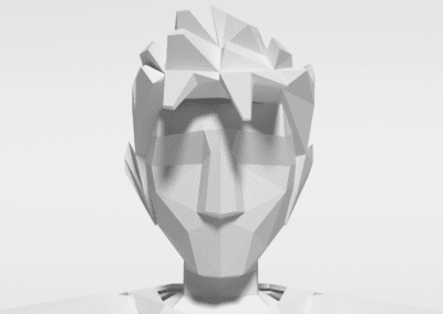 Detail of character modeling in Blender for game. Model in low poly.