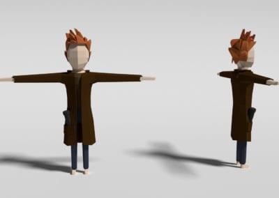 Modelagem rápida de conceito de personagem no Blender, para jogo. Modelo em low poly.