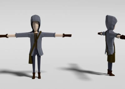 Blender character concept modeling for game. Model in low poly.