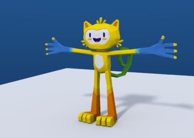 Estudo de modelagem low poly no Blender, Vinícius estilizado, mascote das Olimpíadas do Rio 2016. Modelo em low poly. (Direitos reservados para Rio 2016™, utilizado como referência para estudo)